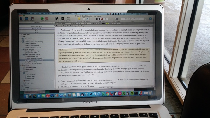 Using Scrivener at Starbucks.
