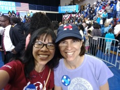 Trish, a fellow out-of-state volunteer (from Atlanta), and I still basking in the glow of attending the Obama rally for HRC and Democratic candidates at Fayetteville State University, Nov. 4.
