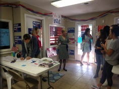 US Senate candidate Deborah Ross visits the campaign office on Sunday to kick off our canvassing/GOTV efforts.